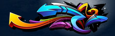 Illustration for Graffiti background. Horizontal graffiti banner. Vector EPS 10 illustration. - Royalty Free Image