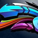 Graffiti background. Horizontal graffiti banner. V...