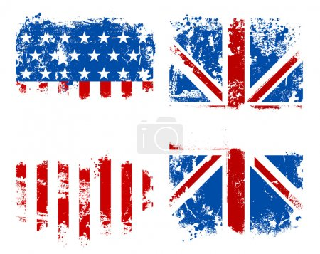 Illustration for Grunge banners USA and UK national flags. Vector illustration. - Royalty Free Image