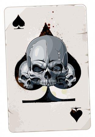 Photo pour La carte de l'as avec crâne de coeur abstrait - image libre de droit