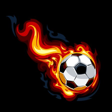 Burning soccer ball. Vector illustration