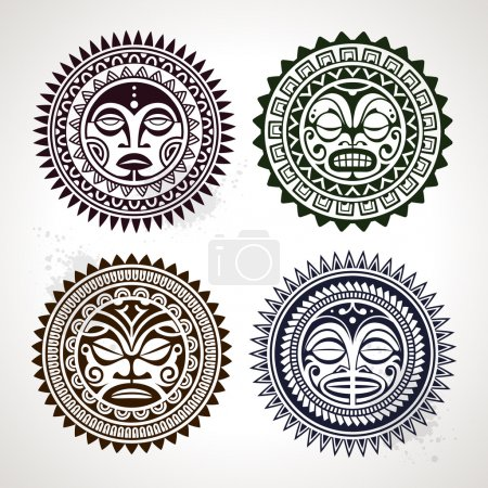Four face symbols. Vector illustration