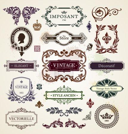 Photo pour Eléments design vintage. Cadres calligraphiques, motifs floraux et bannières. Illustration vectorielle . - image libre de droit