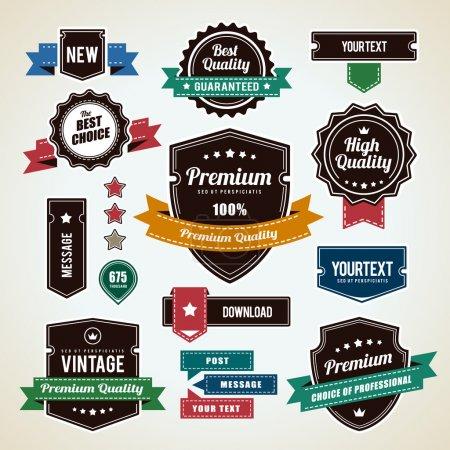 Illustration for Set of vintage badges. Vintage premium quality labels. Vector illustration. - Royalty Free Image