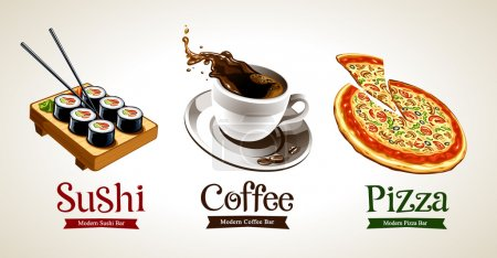 Illustration pour Sushi, café et pizza isolés sur blanc. Illustration vectorielle . - image libre de droit
