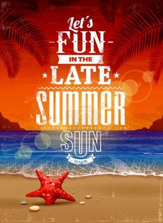 Photo pour Affiches rétro de l'été. paysage marin avec la typographie vintage. illustration vectorielle - image libre de droit