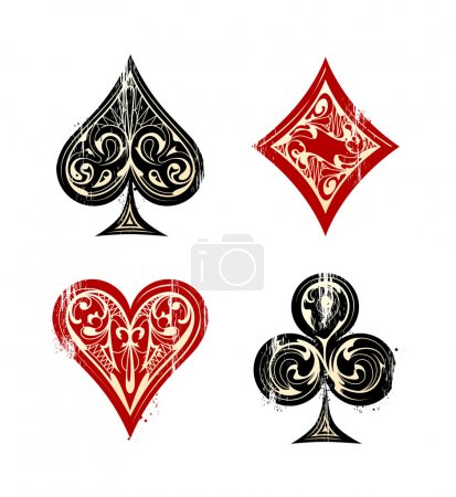 Illustration for Vintage Playing Cards Sybmols Set. Vector illustration. - Royalty Free Image