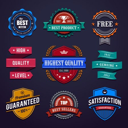 Illustration for Vintage premium quality labels. Set of retro styled badges. Vector illustration. - Royalty Free Image