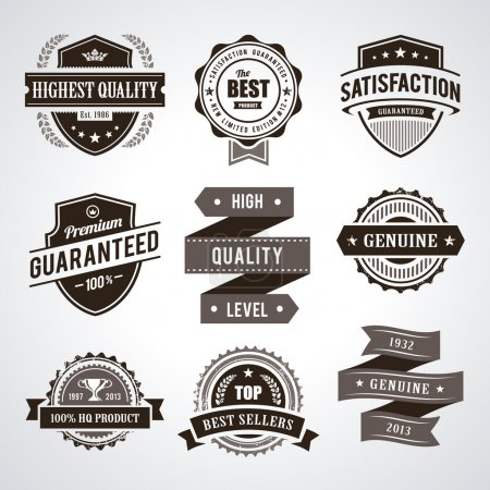 Vintage premium quality labels. Set of retro style...