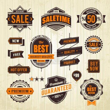 Illustration for Grunge sale emblems. Set of retro styled trade badges on wood plank background. Vector illustration. - Royalty Free Image