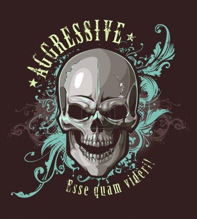 Illustration for Grunge image with skull and vintage floral patterns. Vector illustration. - Royalty Free Image