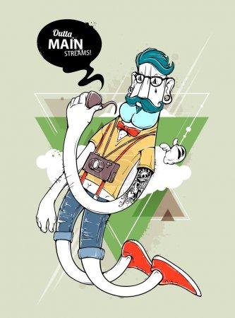Illustration pour Caractère graffiti hipster sur fond triangle abstrait. Un hipster tatoué à la main avec une moustache. Illustration vectorielle . - image libre de droit