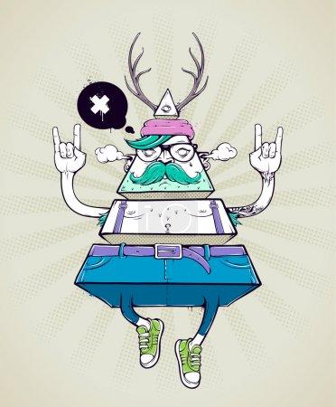 Illustration pour Triangle hipster caractère bizarre. Affiche dessinée à la main avec graffiti hipster mec. Illustration vectorielle . - image libre de droit