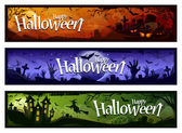 Cartoon halloween banners set Grunge styled horizontal halloween banners with 'Happy Halloween' typography Vector illustration