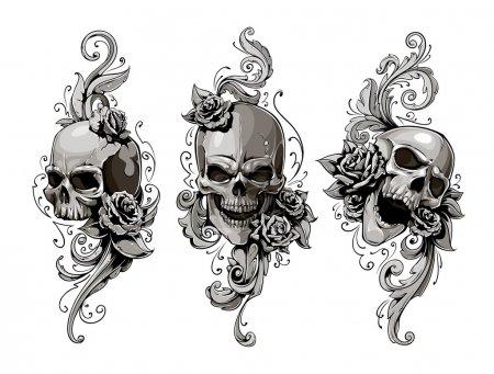 Illustration for Skulls with floral patterns vector set. Vector illustration. - Royalty Free Image