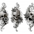 Skulls with floral patterns vector set. Vector ill...