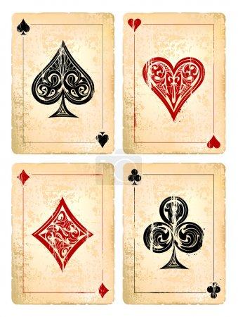 Photo pour Ensemble vectoriel de cartes de poker Grunge. Illustration vectorielle - image libre de droit