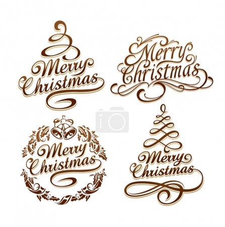 Illustration pour Ensemble vectoriel de typographie de Noël calligraphique. Illustration vectorielle . - image libre de droit