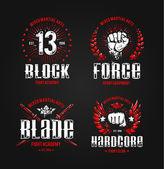 Grunge fighting prints Martial arts badges Vector illustration