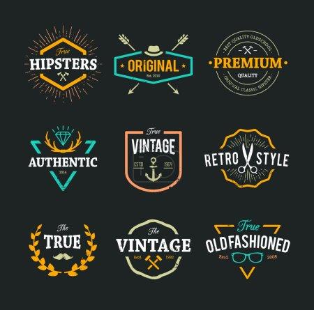 Illustration pour Ensemble d'emblèmes hipster, insignes et éléments de design. Étiquettes cool à l'ancienne pour un design rétro . - image libre de droit