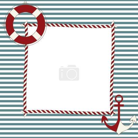 Illustration pour Cadre enfant avec icônes nautiques - image libre de droit