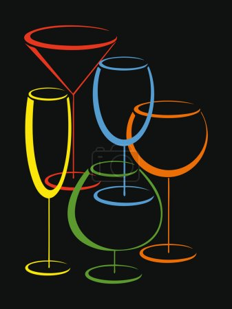 Illustration pour Fond ou cower de carte de vin avec ensemble de verres colorés pour boissons alcoolisées - image libre de droit