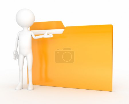 Photo pour 3d - caractère humain avec dossier. ordinateur généré - image libre de droit