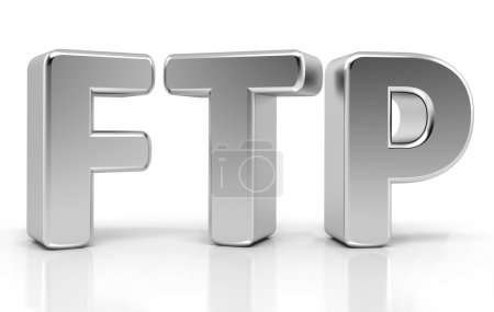 Ftp Sign. File Transfer Protocol. 3d concept