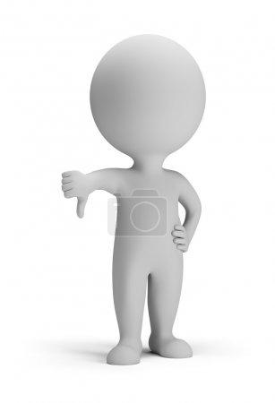 Photo for 3d small person - thumb pointing down. 3d image. Isolated white background. - Royalty Free Image