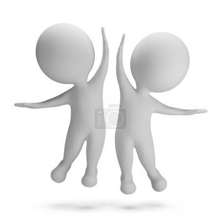 Photo pour 3d petites personnes sautant de joie. Tope là. Image 3D. Fond blanc . - image libre de droit