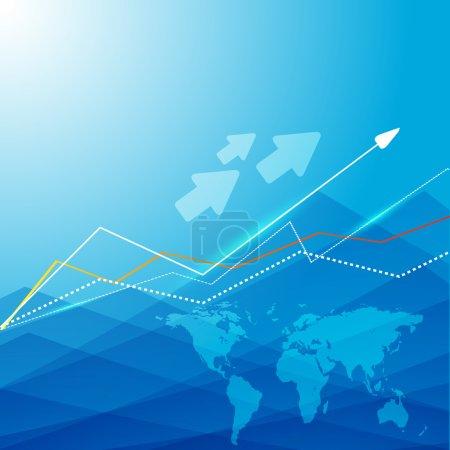 Illustration pour Fond vectoriel bleu avec carte et flèches. Eps10 - image libre de droit