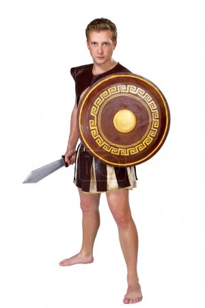 Young male warrior with a shield