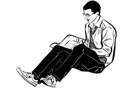 Guy with glasses sitting and reading a book