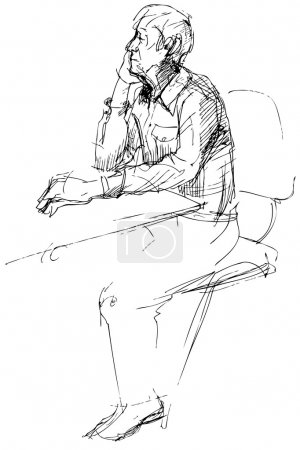 Sketch of not young man of being at a table
