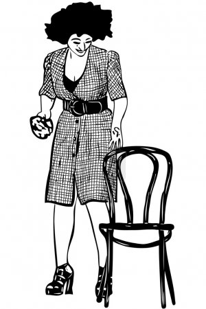 A sketch a cleaner holds rag with a chair