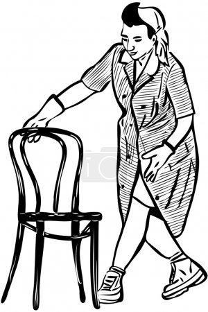 Sketch cleaner in rubber gloves with a chair