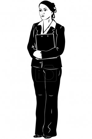 Sketch woman, secretary with a folder in hands