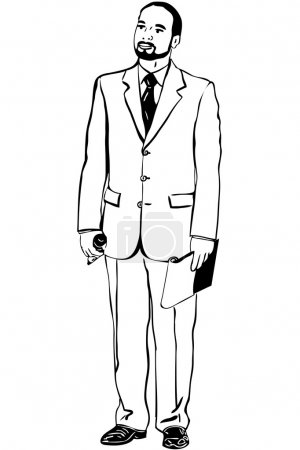 Sketch of man in an overwhites with a microphone