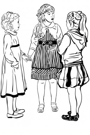Sketch three girl-friends of girl speak in dresses