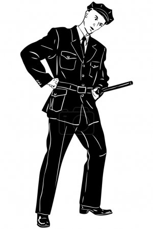Sketch man policeman with a club on service