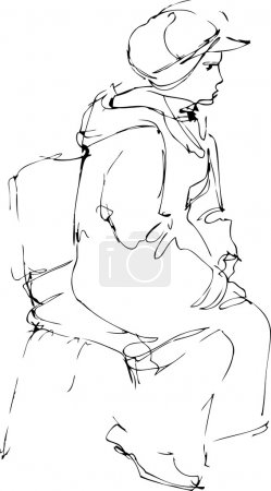 Sketch a woman in a cap sits on a chair