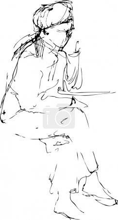 Sketch a girl sits in a beret at the table