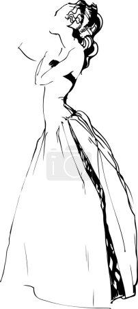 Sketch of beautiful girl is in a long dress