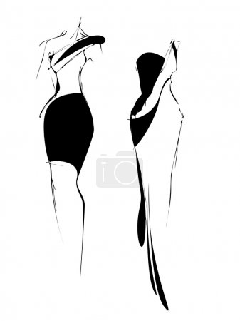 fashion sketch freehand black and white