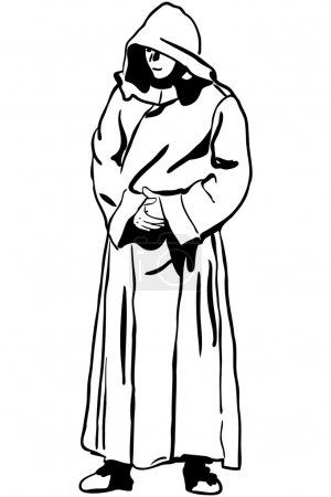 Sketch of a man in monk's hood