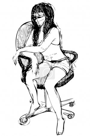 A girl brunette sits on an office chair