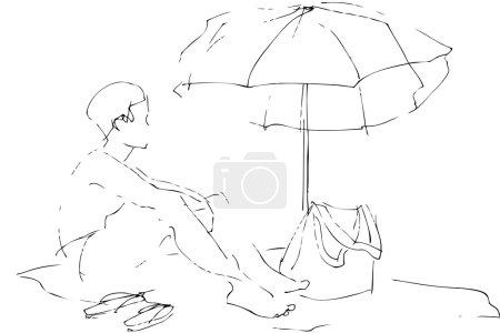 A boy sits on a beach under an umbrella