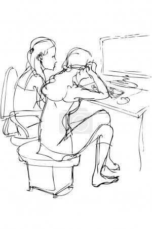 Two girls are at a table with a computer