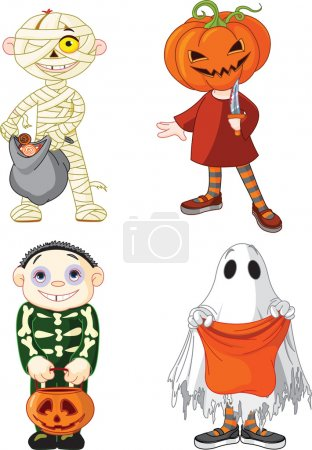 Illustration for Children wearing Halloween costumes - Royalty Free Image