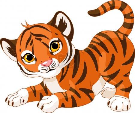 Playful tiger cub